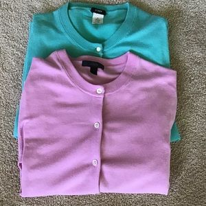 J. Crew Pink & Robin Egg Blue Cardigans Size M